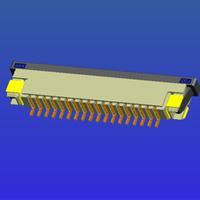 1.0mm間距帶鎖臥貼下接抽屜式FPC